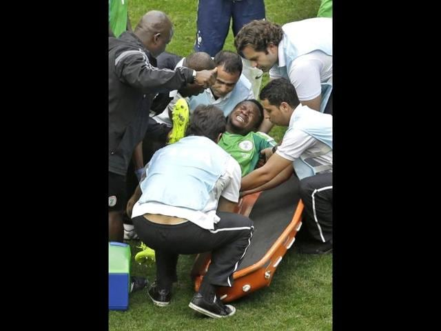 Nigeria-s-Ogenyi-Onazi-is-put-on-a-stretcher-during-the-World-Cup-Round-of-16-match-between-France-and-Nigeria-at-the-Estadio-Nacional-in-Brasilia-Brazil-AP-Photo
