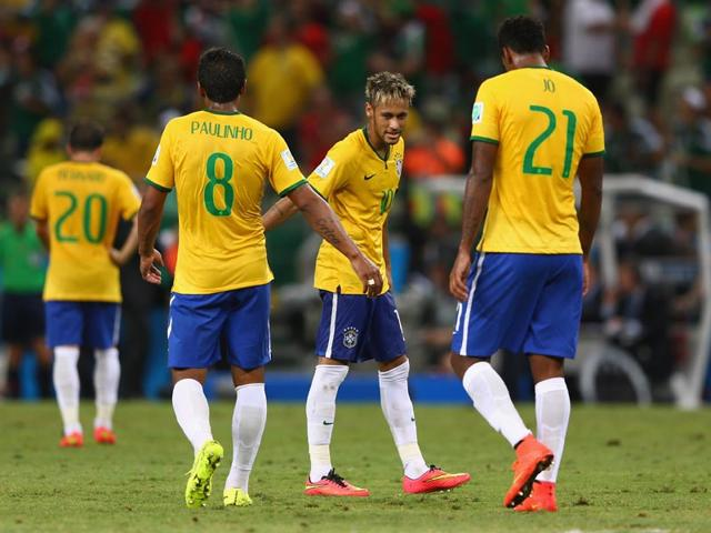 Neymar speaks to the media in Teresopolis before Brazil's departure to Fortaleza for the their quarter-final clash with Colombia.