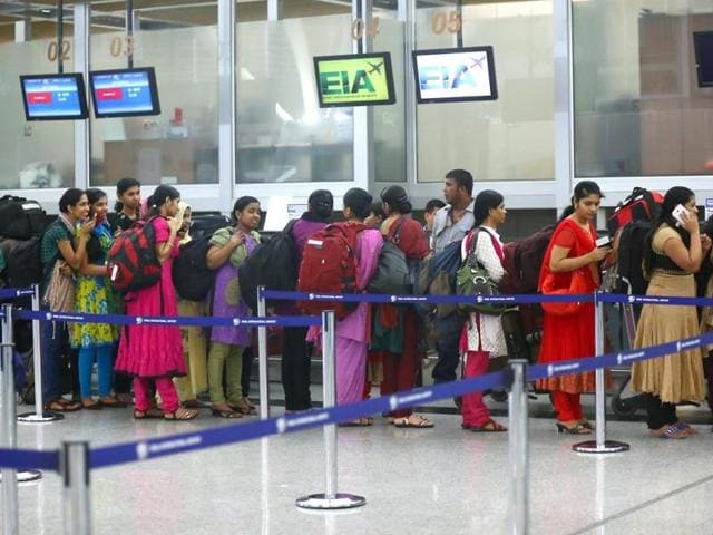 Indian-nurses-who-were-trapped-in-territory-captured-by-Islamic-militants-wait-for-the-plane-to-begin-their-journey-home-at-Erbil-International-Airport-Iraq-AP-Photo