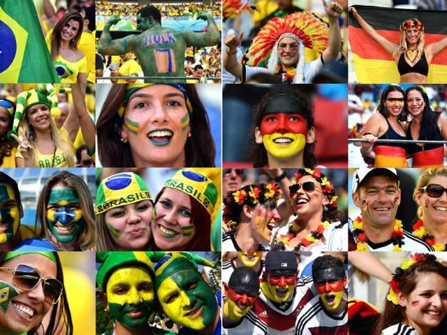 A-combination-of-pictures-shows-supporters-of-Brazil-and-Germany-during-the-2014-World-Cup-in-Brazil-The-Brazil-will-play-against-Germany-in-the-semi-finals-of-the-tournament-at-The-Mineirao-Stadium-in-Belo-Horizonte-AFP-Photo