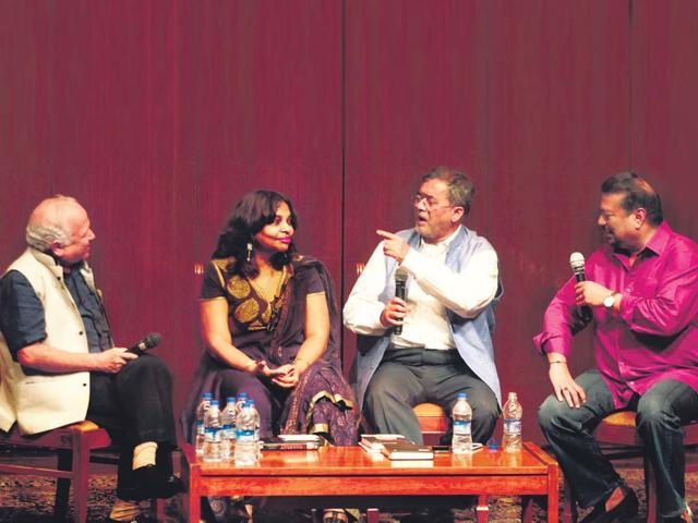 From-left-Journalist-Kumar-Ketkar-author-of-the-book-Sujata-Anandan-Sena-MP-Bharatkumar-Raut-and-journalist-Vir-Sanghvi-during-the-discussion-on-the-book-Hindu-Hriday-Samrat-at-NCPA