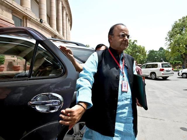 Finance-minister-Arun-Jaitley-arrives-at-Parliament-in-New-Delhi-to-attend-budget-session-AFP-photo