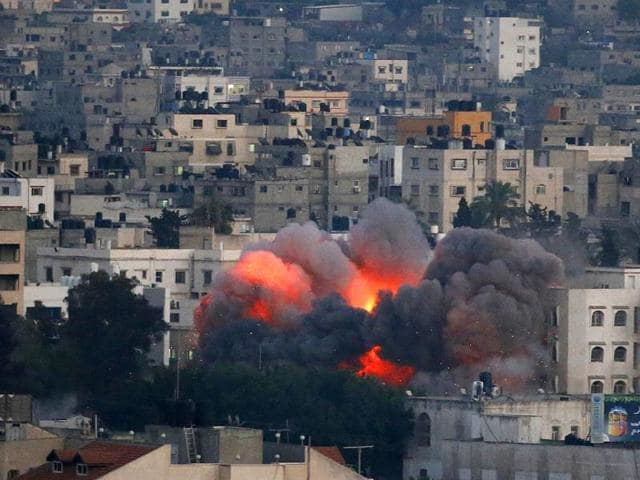 Flames-erupt-from-a-building-hit-by-an-Israeli-air-strike-in-Gaza-City-AFP-Photo