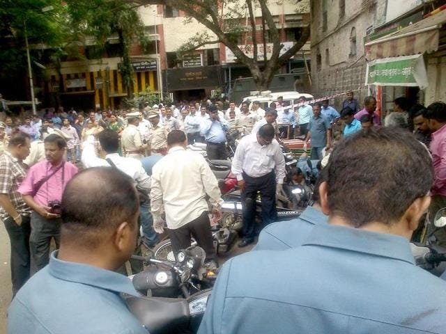 The-scene-outside-Faraskhana-police-station-Pune-HT-Photo