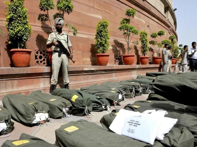 Security officials guard budget copies at Parliament House as finance minister Arun Jaitley to present union budget 2014-15 in Parliament in New Delhi. (HT photo/Vipin Kumar)