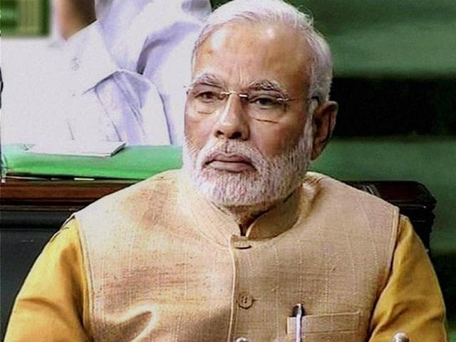 PM Narendra Modi during the presentation of the union budget in Lok Sabha. (PTI photo)