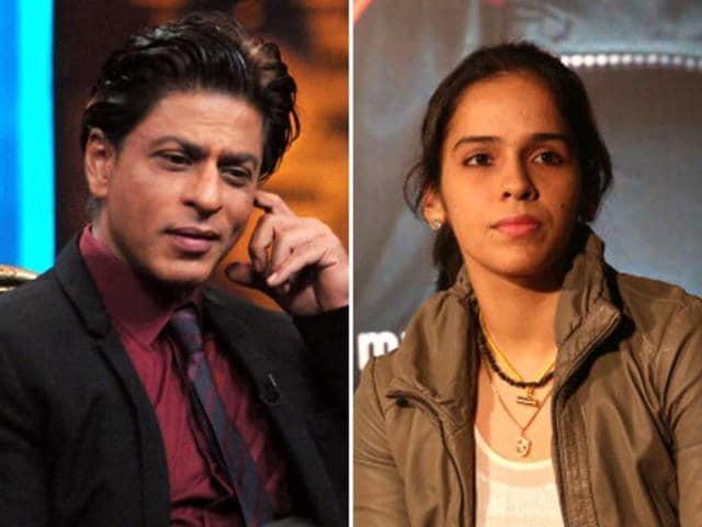 Actor-Shah-Rukh-Khan-and-shuttler-Saina-Nehwal-Getty-Images