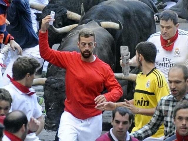 San fermin festival,spain,selfie with bulls
