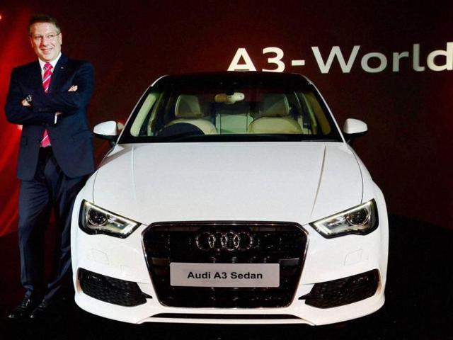 Audi-India-Head-Joe-King-poses-next-to-the-newly-introduced-A3-Sedan-in-New-Delhi-on-Thursday-Photo-PTI