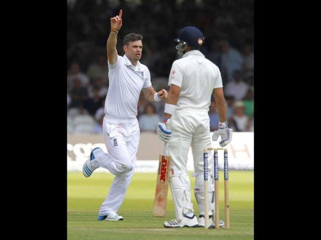 England-s-James-Anderson-L-celebrates-taking-the-wicket-of-Virat-Kohli-R-for-25-runs-on-the-first-day-of-the-second-Test-at-Lord-s-cricket-ground-in-London-AFP-Photo