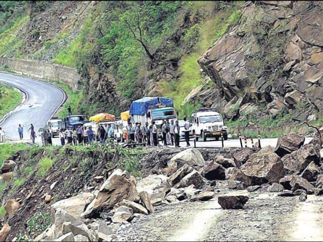 People-stranded-after-landslide-blocks-a-road-in-Kedar-valley-PTI-Photo