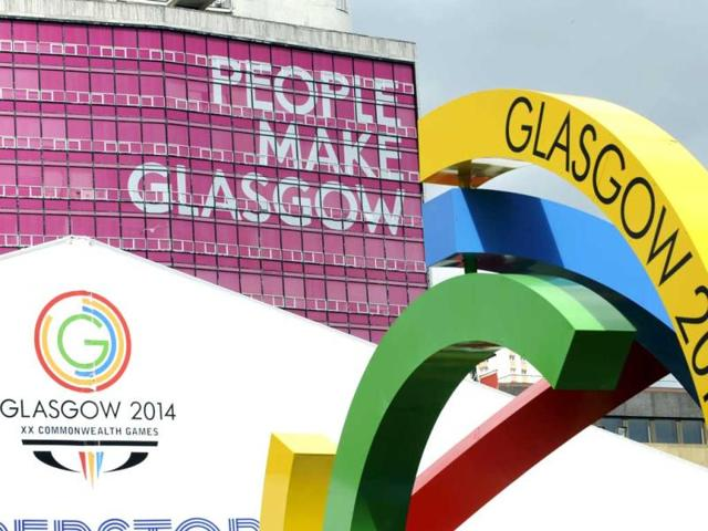 Banners advertising the 2014 Commonwealth Games are pictured in Glasgow in Scotland. AFP PHOTO