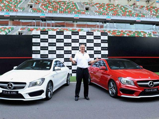 Mercedes-Benz-MD-aand-CEO-Eberhard-Kern-at-the-launch-of-Mercedes-CLA-45-AMG-in-Budh-International-Circuit-in-Greater-Noida-on-Tuesday-Photo-PTI