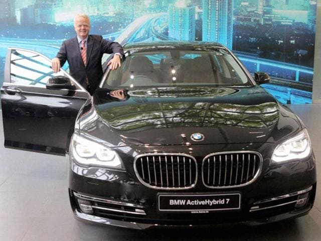 Philipp-von-Sahr-President-BMW-Group-India-with-the-newly-launched-BMW-Active-Hybrid-7-car-in-Gurgaon-on-Wednesday-Photo-PTI