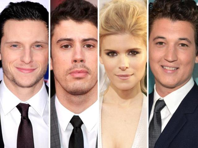 The-cast-for-the-new-Fantastic-Four-movie-Kate-Mara-as-Sue-Storm-The-Invisible-Woman-and-Miles-Teller-as-Reed-Richards-Mr-Fantastic-Michael-B-Jordan-as-Johnny-Storm-The-Human-Torch-and-Jamie-Bell-as-Ben-Grimm-The-Thing-Getty-Images
