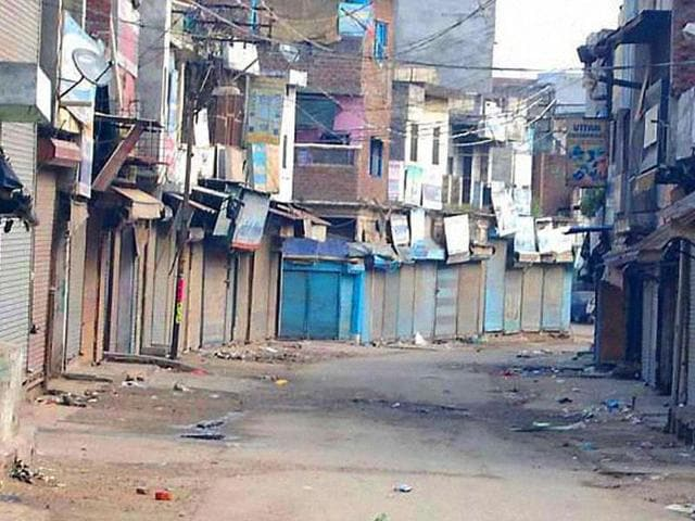 A view of a street during curfew in Saharanpur after violent clashes between two communities over a land dispute. (PTI photo)