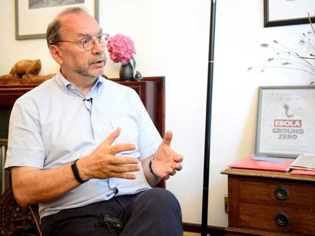 Professor-Peter-Piot-the-Director-of-the-London-School-of-Hygiene-and-Tropical-Medicine-speaks-during-an-interview-at-his-office-in-central-London-AFP-Photo