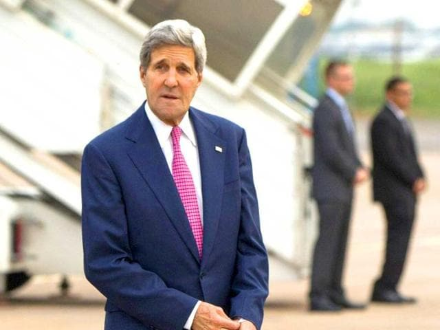 US secretary of state John Kerry arrives in New Delhi. AFP