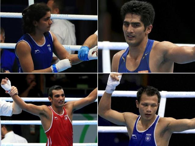Clockwise-from-Top-Left-Pinki-Jangra-Vijender-Singh-L-Devendro-Singh-and-Mandeep-Jangra-in-action-at-the-2014-Commonwealth-Games-in-Glasgow-Scotland-Agency-Photo