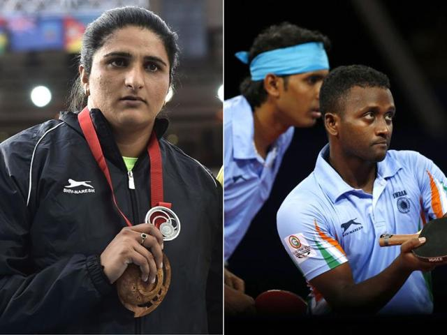 L-Seema-Punia-with-her-medal-and-R-Amalraj-Anthony-Arputharaj-and-Sharath-Kamal-Achanta-in-action-at-the-2014-Commonwealth-Games-in-Glasgow-Scotland-Agency-Photo