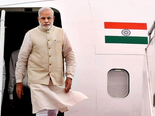 Prime Minister Narendra Modi on his arrival at Tribhuvan International Airport in Kathmandu, Nepal. (PTI photo)
