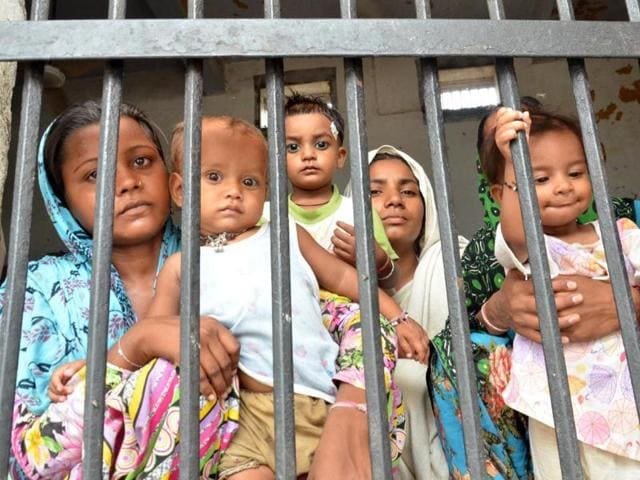 Women-inmates-bringing-up-their--children-behind-bars-at-the-central-jail-in-Amritsar-on-Monday-Sameer-Sehgal-HT