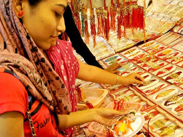 Markets-in-Bhopal-are-flooded-with-NaMo-inspired-rakhi-designs-Praveen-Bajpai-HT-photo