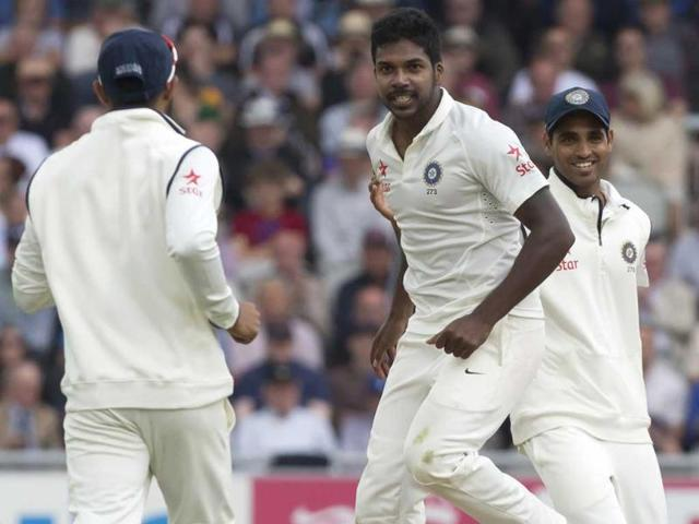 Varun-Aaron-C-celebrates-the-wicket-of-England-s-Moeen-Ali-for-13-on-the-second-day-of-the-fourth-Test-at-Old-Trafford-cricket-ground-in-Manchester-England-AP-Photo