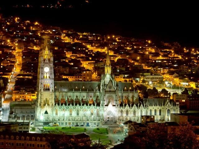 Basilica-Cathedral-of-Quito-Ecuador-seen-at-night-Shutterstock