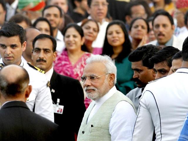 Prime-Minister-Narendra-Modi-during-the-Independence-Day-At-Home-reception-at-Rashtrapati-Bhavan-in-New-Delhi-Virendra-Singh-Gosain-HT-Photo
