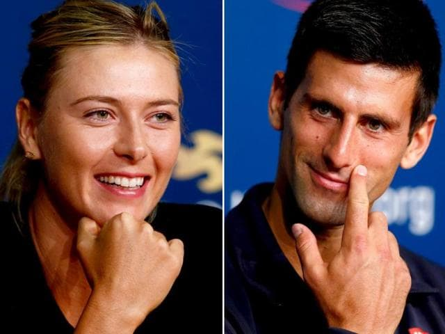 Maria-Sharapova-L-of-Russia-and-Novak-Djokovic-of-Serbia-talk-to-the-media-during-separate-previews-for-the-US-Open-in-New-York-City-AFP-Photo
