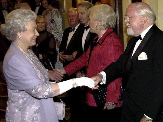 Richard Attenborough with Queen Elizabeth in this file photo. Acclaimed actor and Oscar-winning director Richard Attenborough, whose film career on both sides of the camera spanned 60 years, died on Sunday. He was 90. (AP)