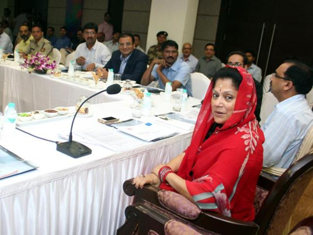 State-commerce-and-industry-minister-Yashodhara-Raje-Scindia-chairs-a-meeting-to-review-preparations-for-Global-Investors-Summit-to-be-held-in-Indore-from-October-8-10-Shankar-Mourya-HT-photo