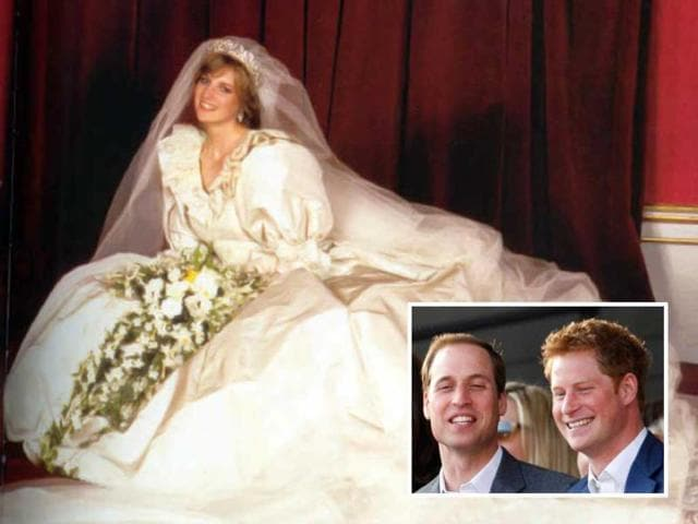 Princess Diana In Her Wedding Gown And Prince Harry William Inset AP Photo
