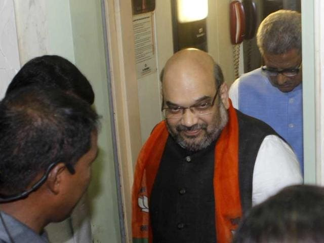 BJP president Amit Shah met party workers in Mumbai ahead of assembly elections in Maharashtra. This was his maiden visit after assuming charge as the party chief. (Satish Bate/HT photo)