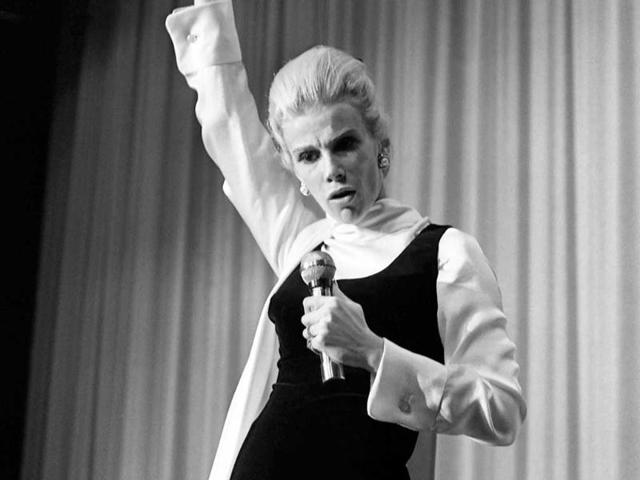 In this November 11, 1969 photo, comedian Joan Rivers performs at the Riviera Hotel & Casino in Las Vegas. (AP)