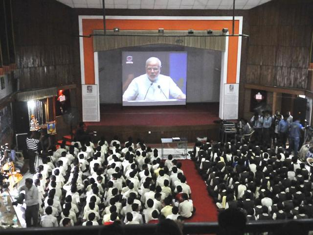 Students-of-Subhash-Higher-Secondary-School-for-Excellence-listen-to-PM-Narendra-Modi-s-address-on-Teacher-s-Day-in-Bhopal-on-Friday-Praveen-Bajpai-HT-photo