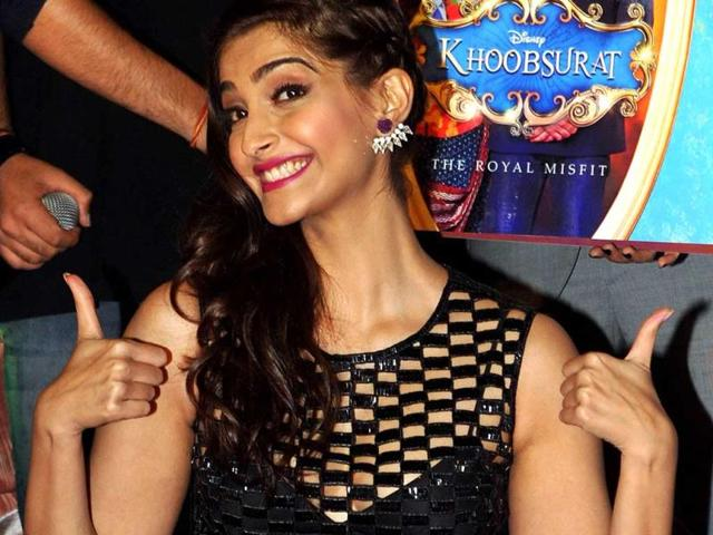Sonam Kapoor showed off her crazy side at the music launch of Khoobsurat in Mumbai. Browse through.(AFP)