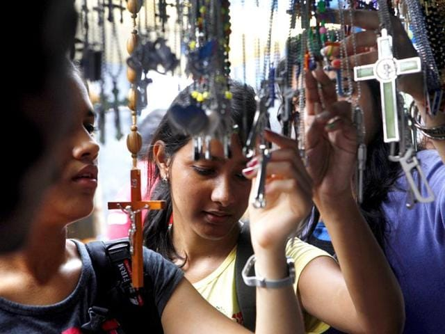 A-devotee-visits-Mount-Mary-to-pay-her-tributes-to-Mother-Mary-in-Bandra-The-annual-fair-starts-on-14th-of-September-in-Mumbai-Vidya-Subramanian-HT-photo