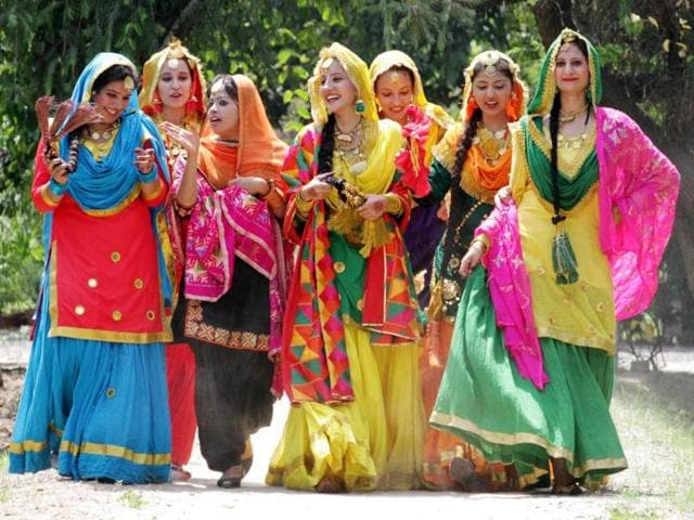 College-girls-in-Punjabi--traditional-dresses