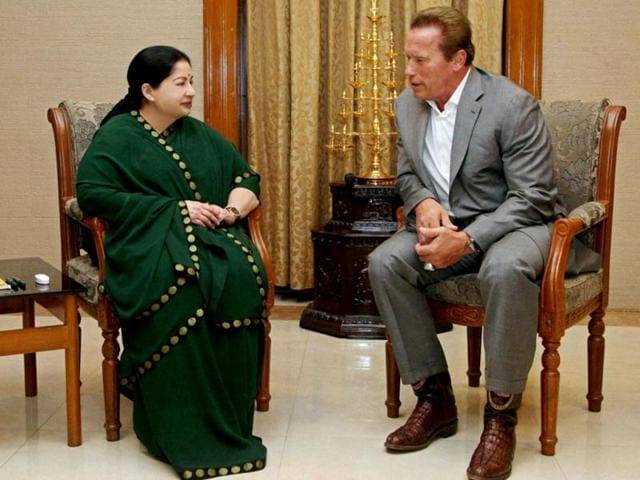 Hollywood-star-Arnold-Schwarzenegger-with-Tamil-Nadu-Chief-Minister-J-Jayalalithaa-at-Secretariat-in-Chennai-on-Monday-PTI