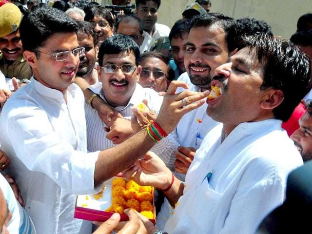 Rajasthan-Congress-president-Sachin-Pilot-celebrates-his-party-s-victory-in-the-bypolls-at-the-party-office-in-Jaipur-on-Tuesday-PTI-Photo