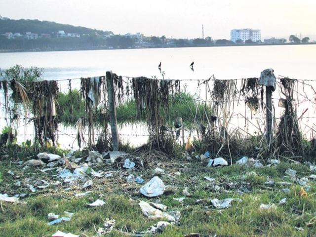 Solid-waste-is-frequently-dumped-either-into-Shahpura-Lake-or-on-its-banks-in-Bhopal-HT-file-photo