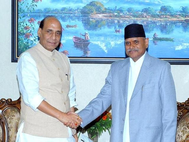 Home-minister-Rajnath-Singh-with-Nepal-President-Ram-Baran-Yadav-in-Kathmandu-on-Friday-Photo-courtesy-Indian-Embassy