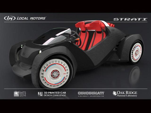 Strati: the first (almost) entirely 3D-printed car,La Strati de Local Motors,3D-printed parts