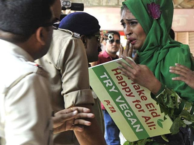 PETA-activist-Benazir-Suraiya-was-roughed-up-by--some-residents-of-Bhopal-for-urging-people-to-celebrate-vegan-Id-uz-Zuha-Mujeeb-Faruqui-HT-photo