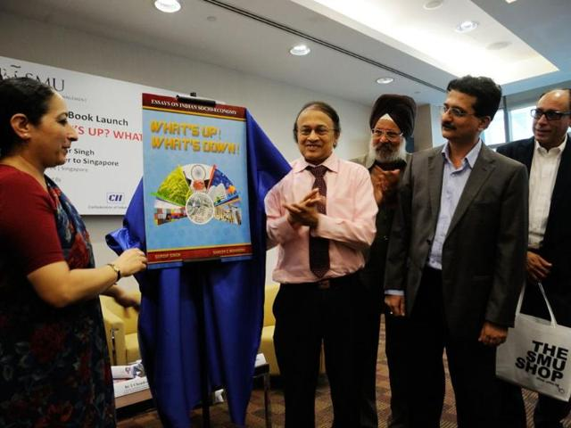 India-s-High-Commissioner-to-Singapore-Vijay-Thakur-Singh-launches-the-book-on-Indian-socio-economy-in-Singapore-Joining-the-launch-are-Dr-V-P-Nair-President-of-the-Global-Organization-of-People-of-Indian-Origin-book-co-author-Gurdip-Singh-and-Sameer-Mohindru-as-well-as-Vikram-Khanna-associate-editor-of-Singapore-s-Business-Times