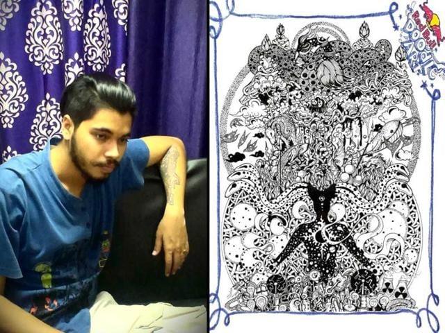 Santanu-Kaushik-Hazarika-is-the-India-winner-of-the-Red-Bull-Doodle-Art-Left-An-artwork-by-him