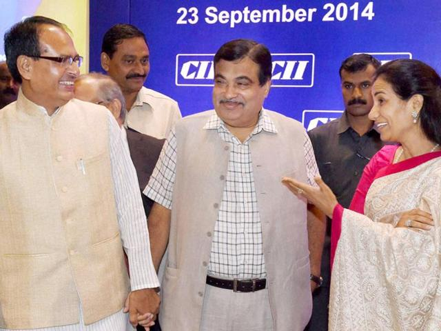 Union-transport-minister-Nitin-Gadkari-MP-CM-Shivraj-Singh-Chouhan-and-Chanda-Kochhar-MD-of-ICICI-Bank-during-CII-National-Council-Meeting-in-Mumbai-on-Tuesday-PTI-photo