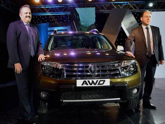 Sumit-Sawhney-L-Country-CEO-and-MD-Renault-Operations-in-India-and-Rafael-Treguer-R-Vice-President-Sale-and-Marketing-during-the-launch-of-Renault-Duster-AWD-All-Wheel-Drive-in-New-Delhi-on-Wednesday-Photo-PTI